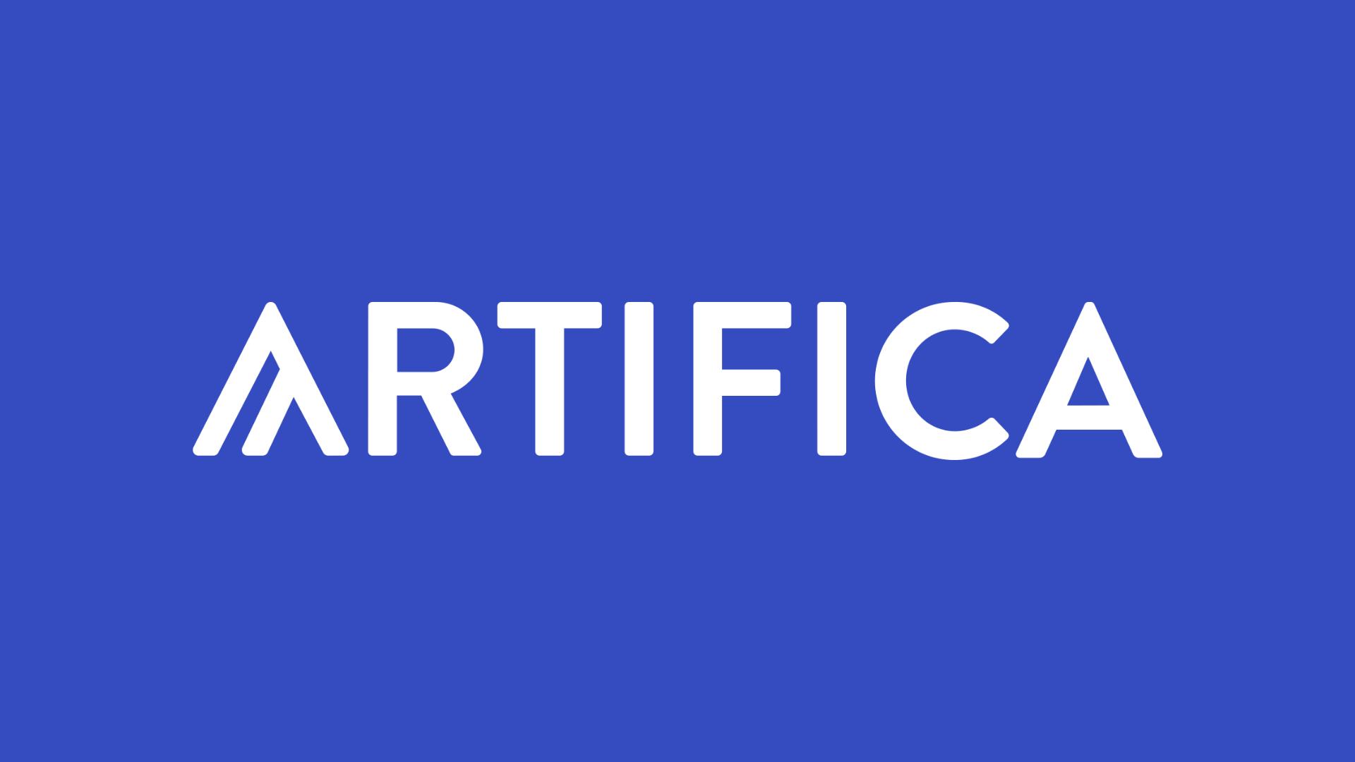 Logo de l'agence de site web Artifica sur fond bleu